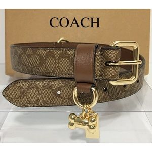 Coach Large Dog Collar Brown Signature C New